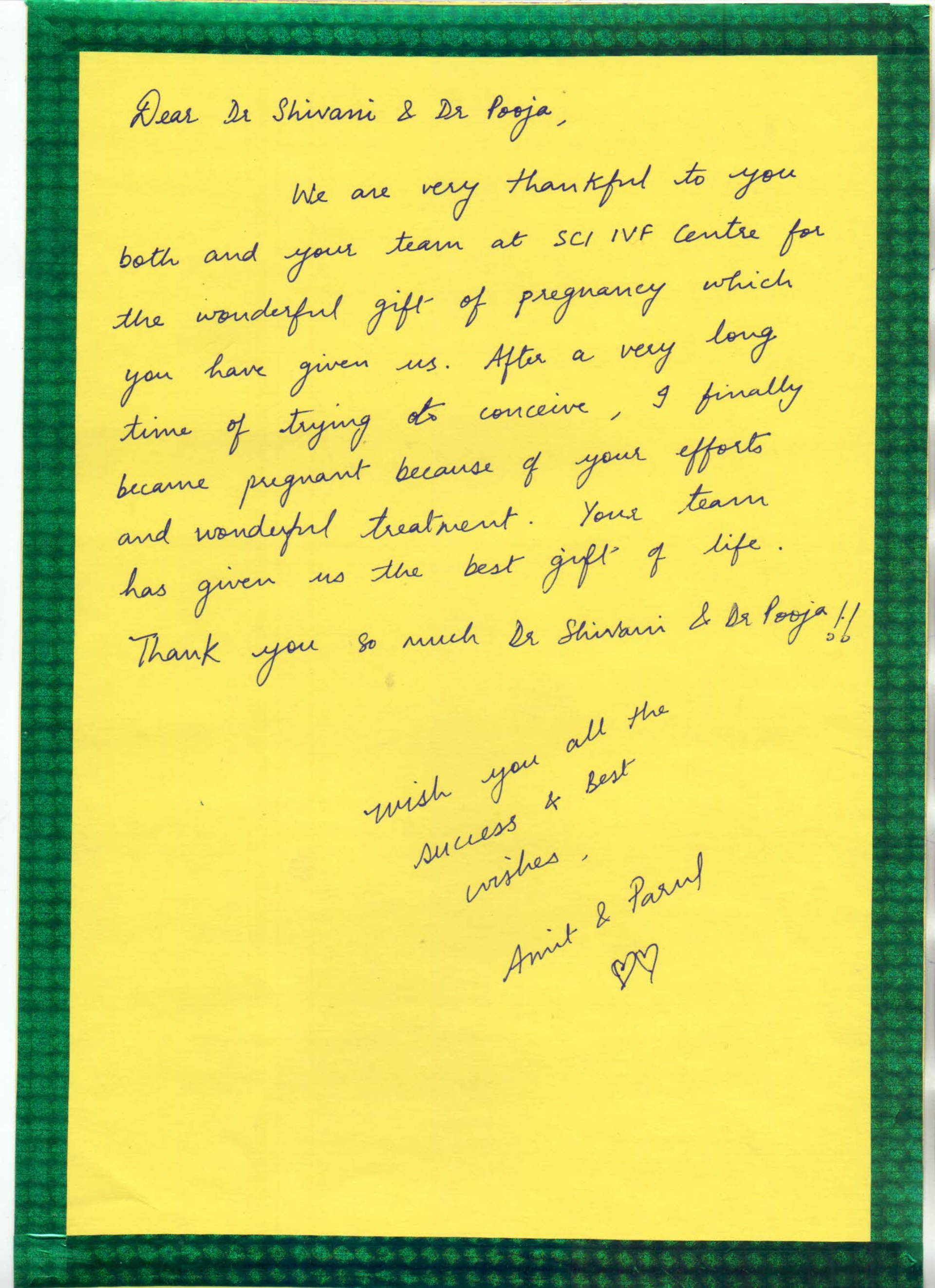 Thank you Message to Dr. Shivani Gour & Dr. Pooja